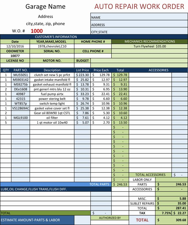 Work order Template Excel New Auto Repair Invoice Templates 10 Printable and Fillable