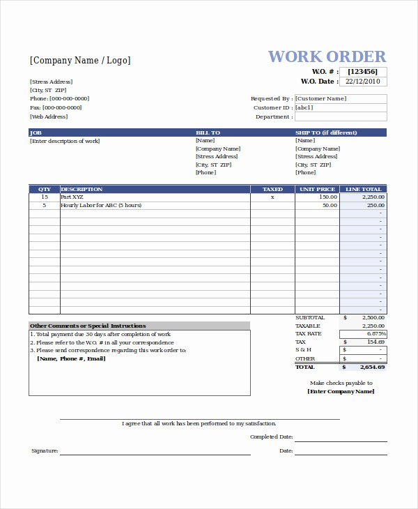 Work order Template Excel New Work order Template Free