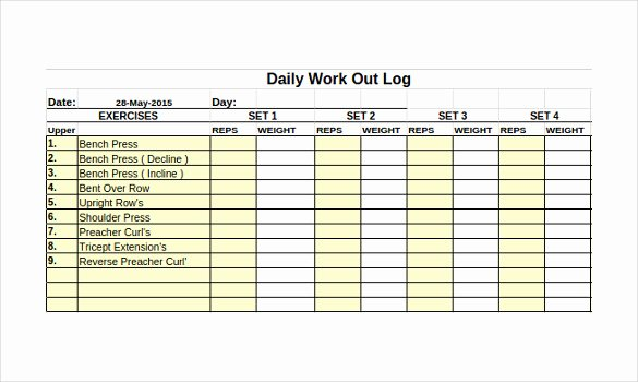 Workout Log Template Excel Best Of 24 Of Exercise Journal Template Excel