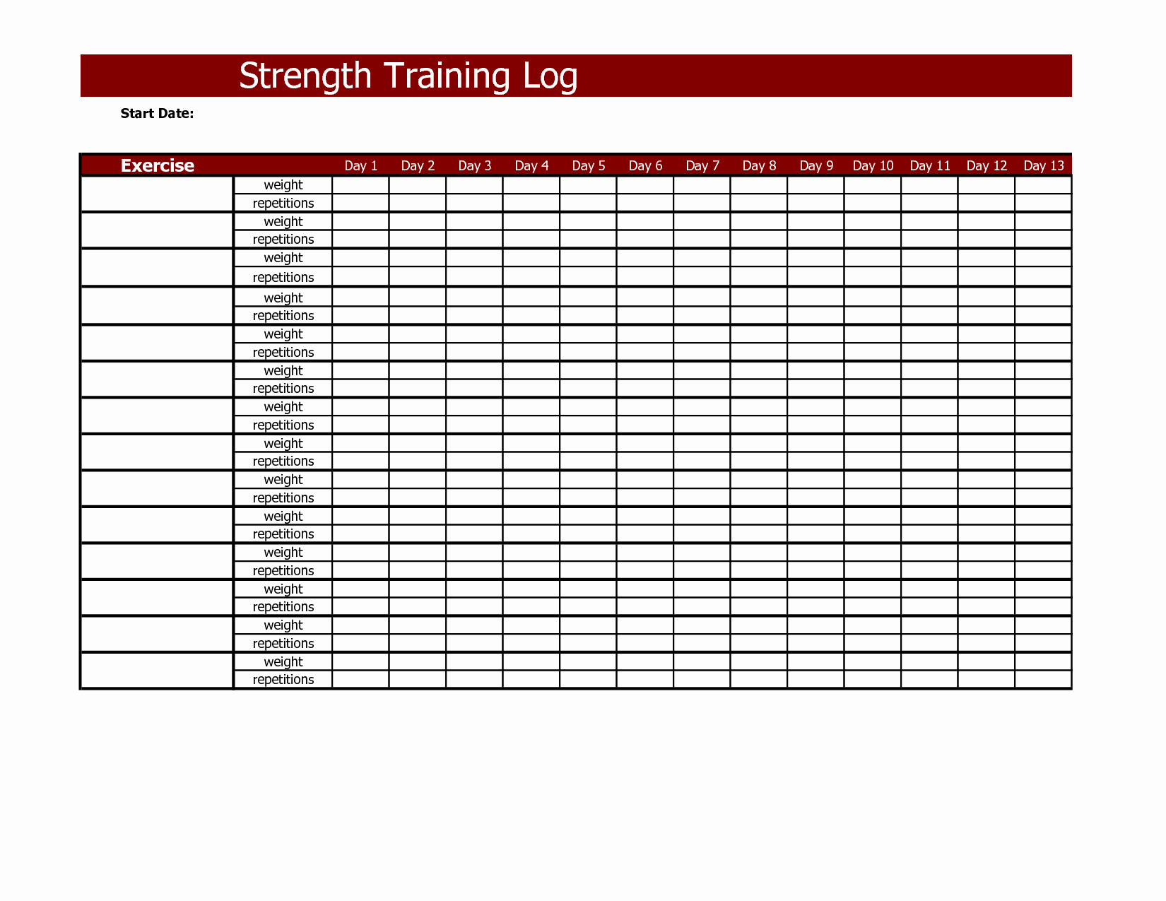 Workout Log Template Excel Best Of Strength Training Log