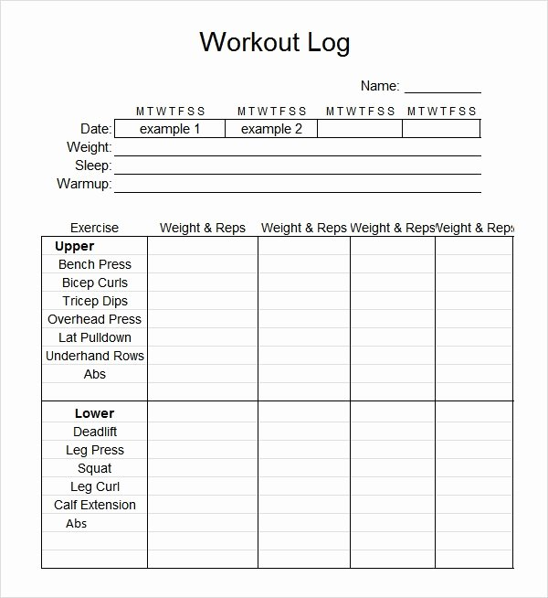 Workout Log Template Excel Elegant Free 8 Workout Log Templates In Pdf