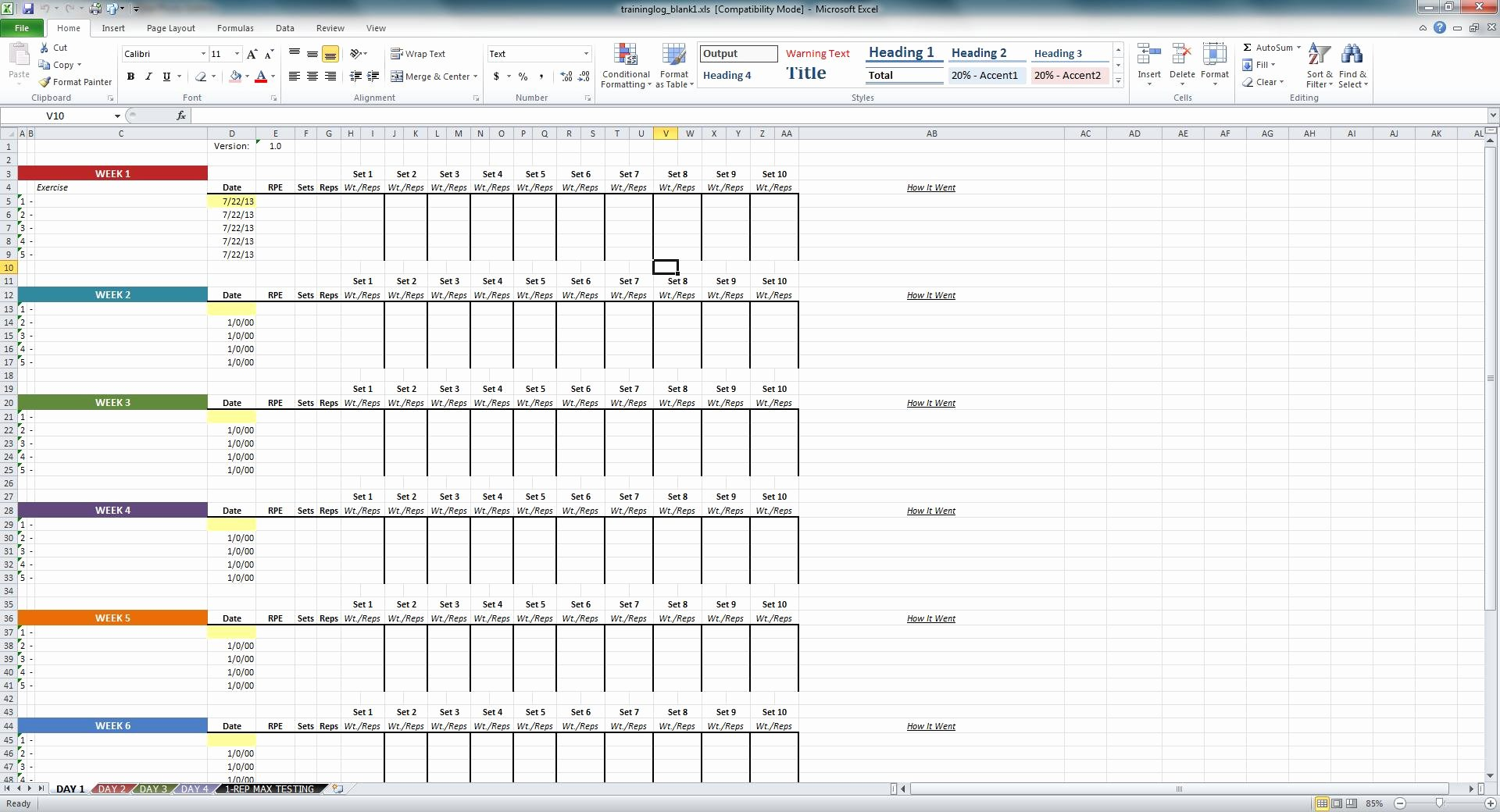 Workout Log Template Excel Fresh Niel K Patel Download Training Log Spreadsheet