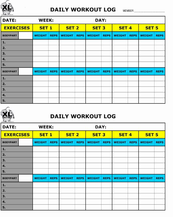 Workout Log Template Excel Lovely Free Printable Workout Log Free Download Aashe