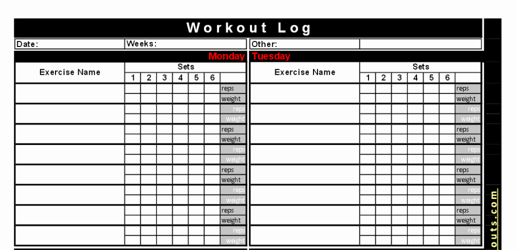 Workout Log Template Excel Lovely Silicone Wedding Ring