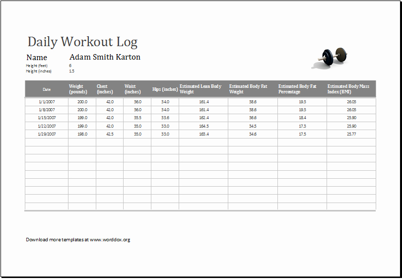 Workout Log Template Excel Luxury Daily Workout Log Ms Excel Editable Printable Template