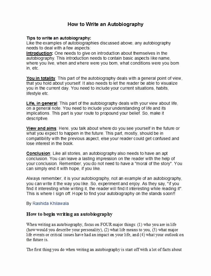 Writing A Biography Template Awesome 40 Autobiography Examples Autobiographical Essay