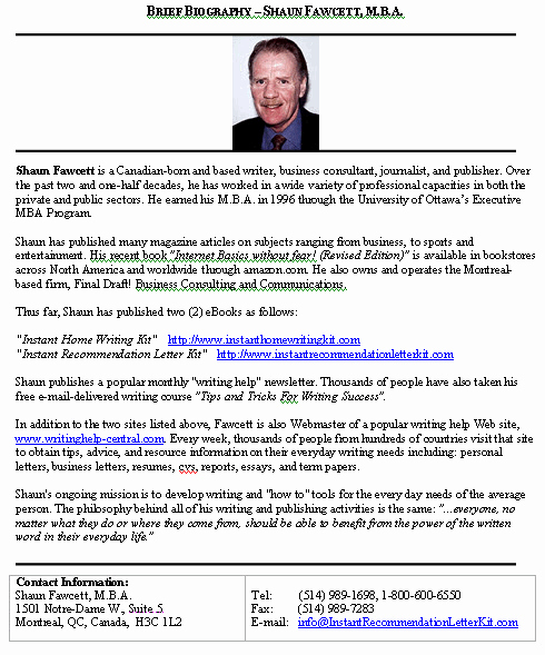 Writing A Biography Template Elegant Biography Brief Sample format for A Typical Brief