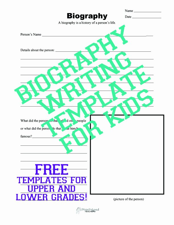 Writing A Biography Template Fresh Biography Writing Template for Kids