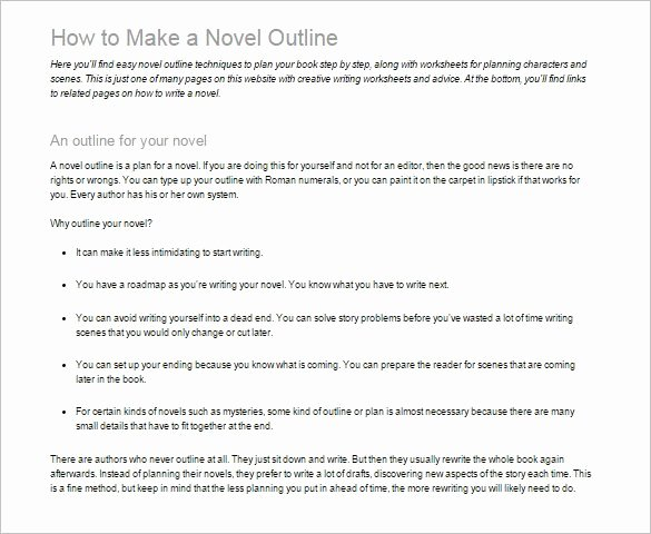 Writing A Book Outline Template Best Of 7 Novel Outline Templates Doc Pdf Excel