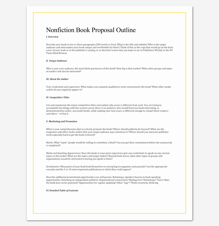 Writing A Book Outline Template Lovely Non Fiction Book Outline Template 5 for Word Pdf