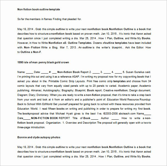 Writing A Book Outline Template New Book Outline Template 5 Free Sample Example format
