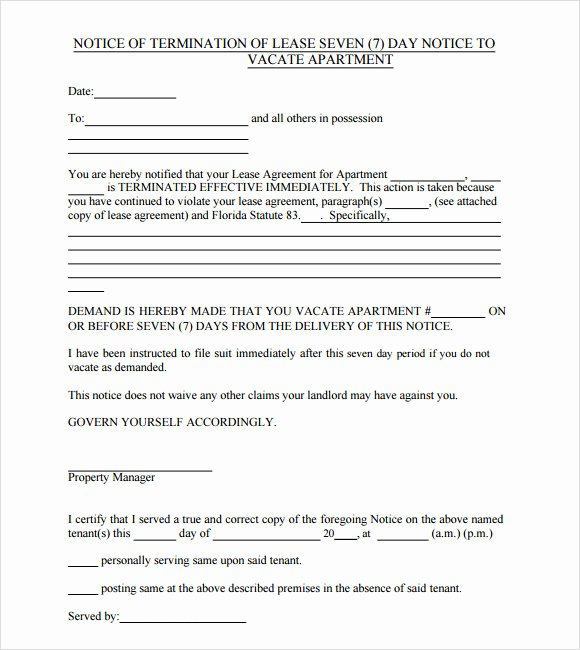 Written Notice to Vacate Templates Awesome Notice to Vacate Template 9 Download Free Documents In Pdf