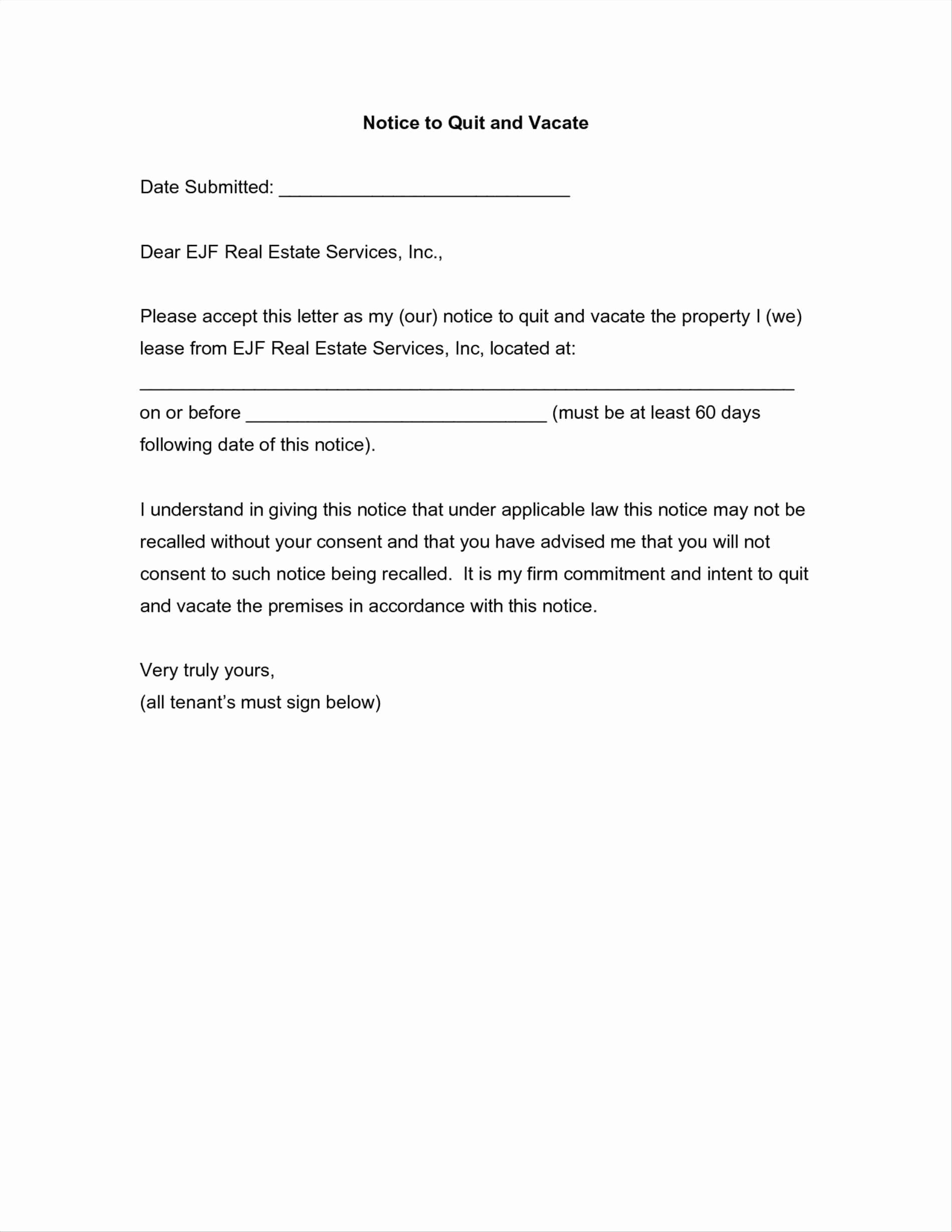 Written Notice to Vacate Templates Elegant Notice to Vacate Apartment Letter Template Samples