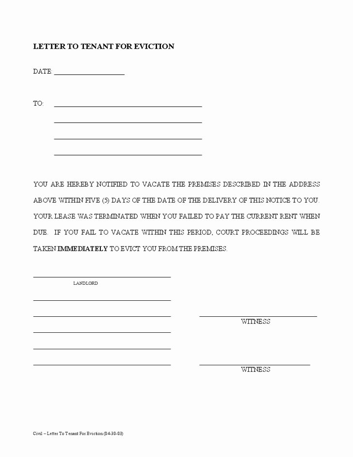 Written Notice to Vacate Templates Inspirational Printable Sample Tenant 30 Day Notice to Vacate form