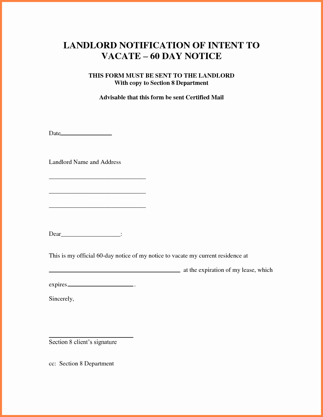Written Notice to Vacate Templates Luxury 9 30 Day Notice to Vacate Letter Template