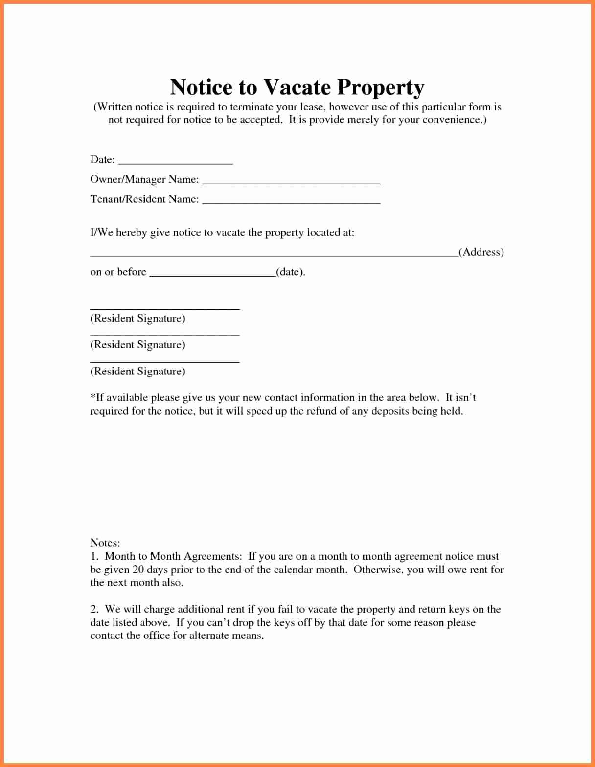 Written Notice to Vacate Templates New 10 Sample Letter Notice to Vacate Rental Property