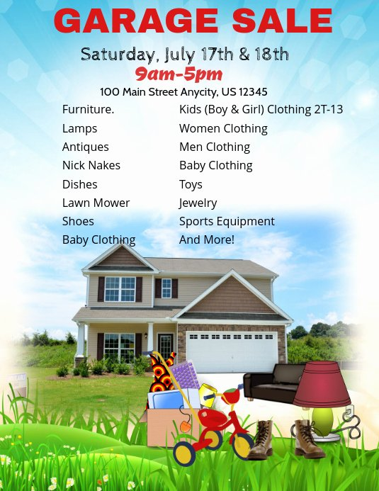 Yard Sale Flyer Template Awesome Garage Sale Template