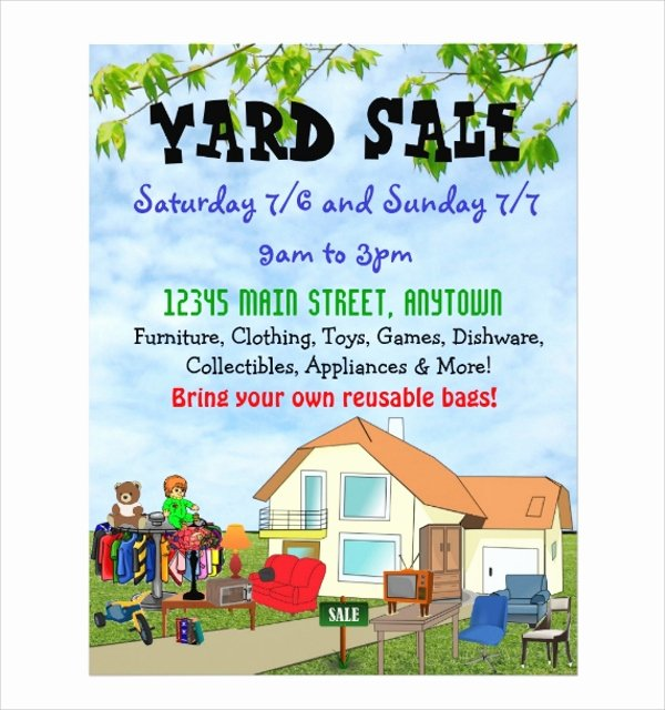 Yard Sale Flyer Template Lovely 27 Yard Sale Flyer Templates Psd Eps format Download