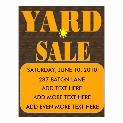 "Yard Sale Flyer Template New Yard Sale Flyer Sign 8 5"" X 11"" Flyer"