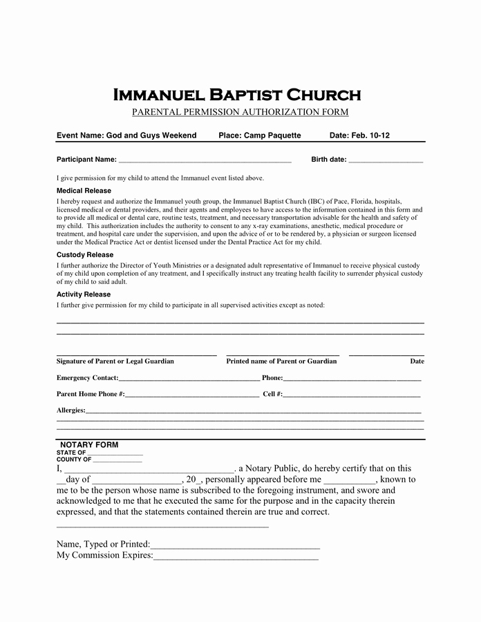 Youth Group Permission Slip Template Awesome Permission Slip Template In Word and Pdf formats