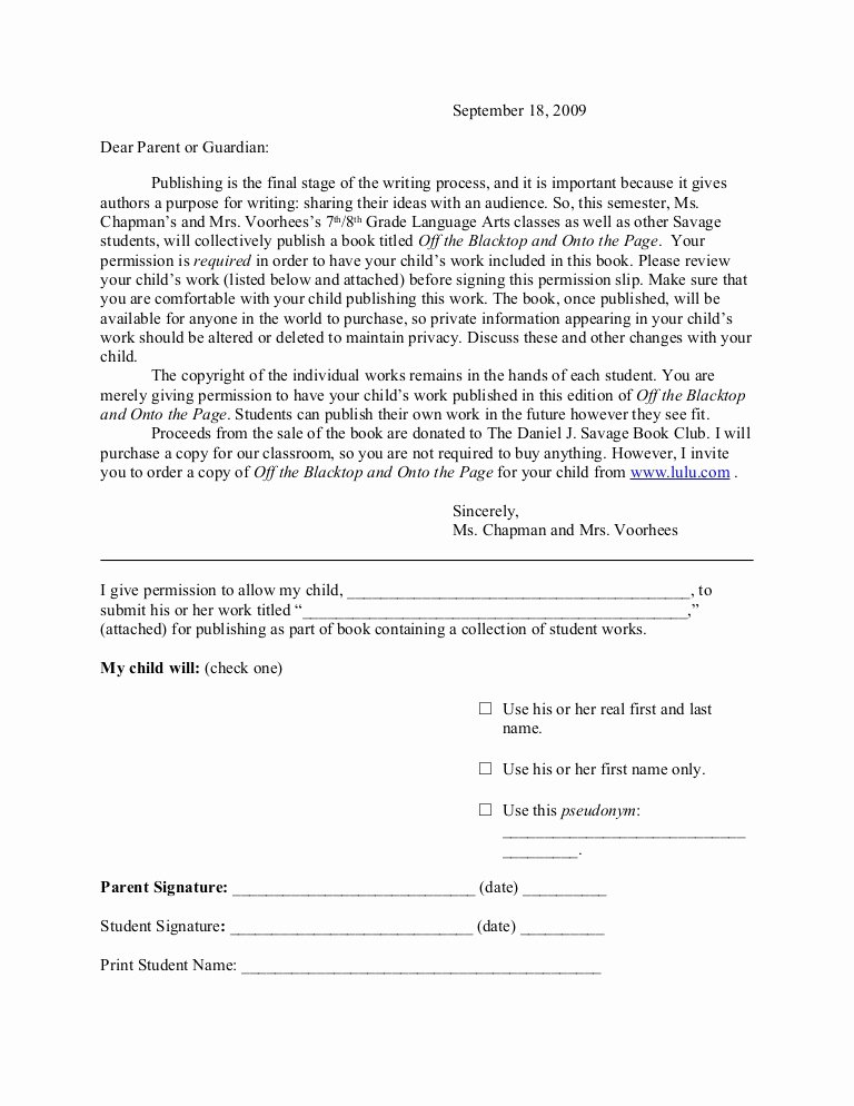 Youth Group Permission Slip Template Beautiful Line Publishing Permission Slip to Parents