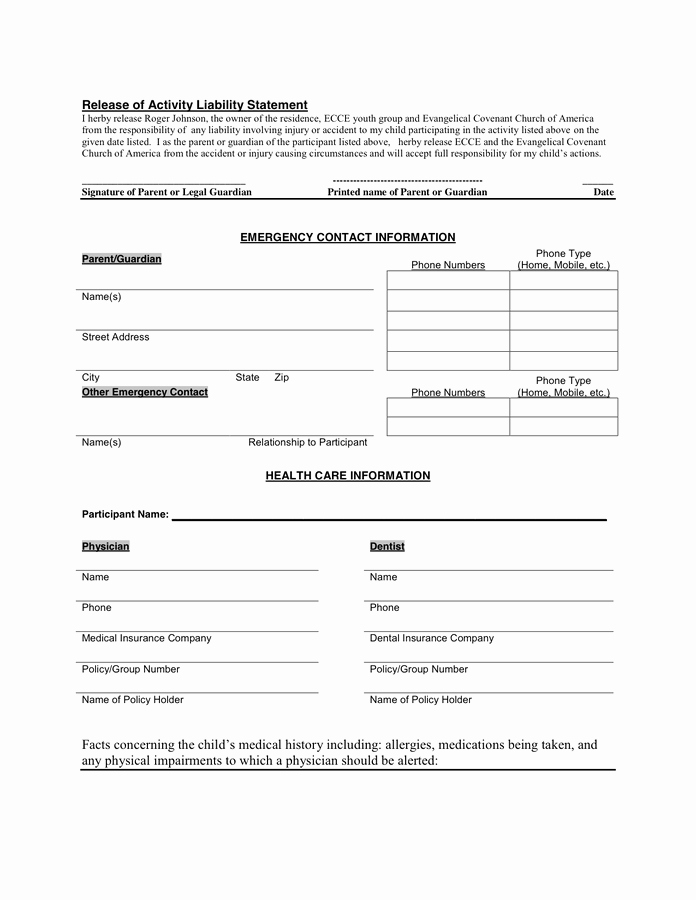 Youth Group Permission Slip Template Fresh 28 Of Trip Release form Template