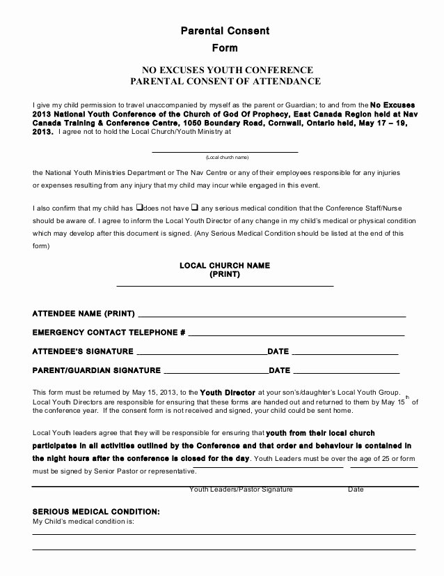 Youth Group Permission Slip Template Fresh Parental Consent form Conference 2013