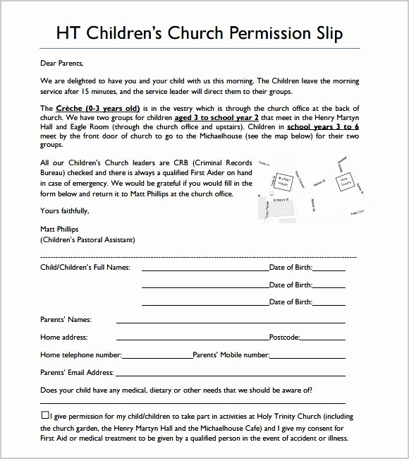 Youth Group Permission Slip Template Inspirational 7 Generic Permission Slip for Field Trip Sampletemplatez
