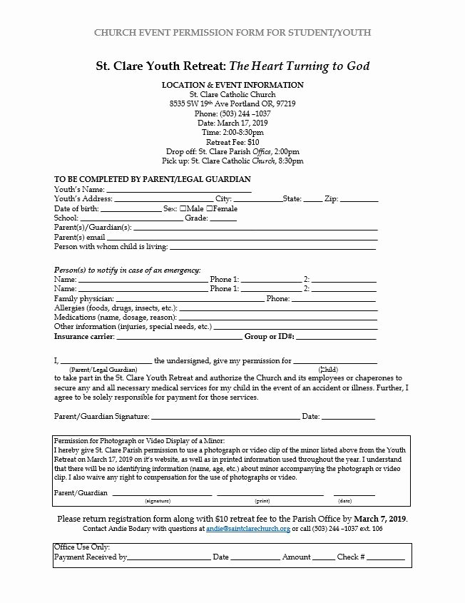 Youth Group Permission Slip Template Inspirational St Clare Parish Youth Ministry