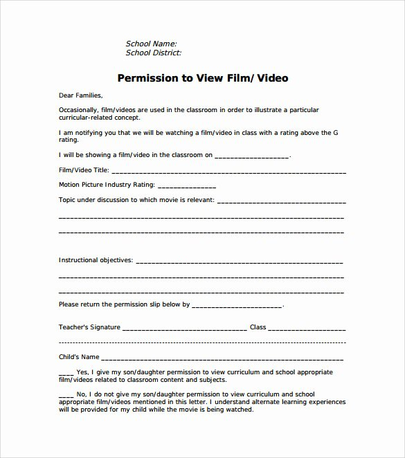 Youth Group Permission Slip Template Lovely Free 14 Permission Slip Samples In Word
