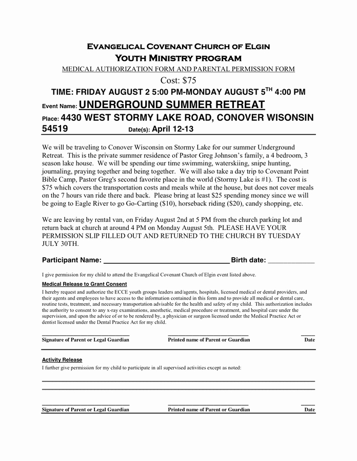 Youth Group Permission Slip Template New Permission Slip Template In Word and Pdf formats