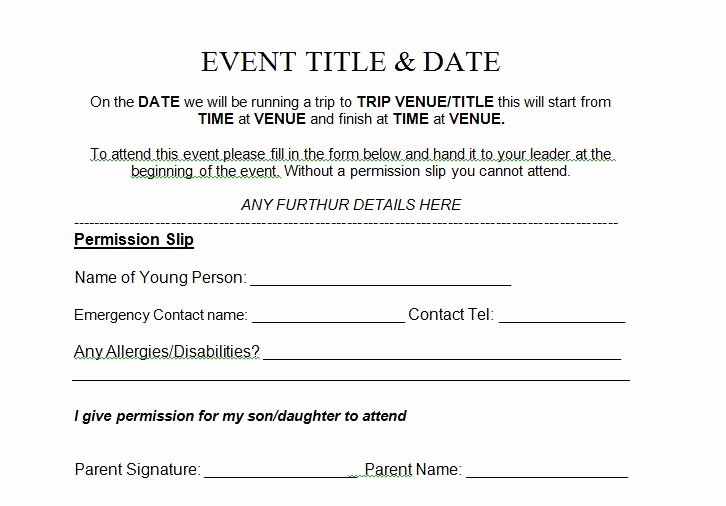 Youth Group Permission Slip Template Unique 35 Permission Slip Templates & Field Trip forms Free