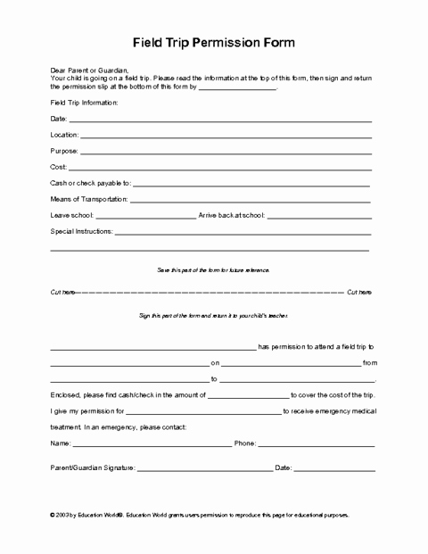 Youth Group Permission Slip Template Unique Field Trip Permission Slip Template