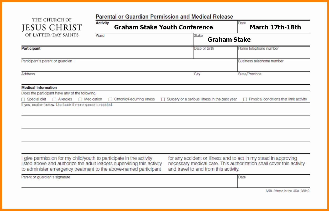 Youth Permission Slip Template Beautiful 10 Lds Youth Permission Slip