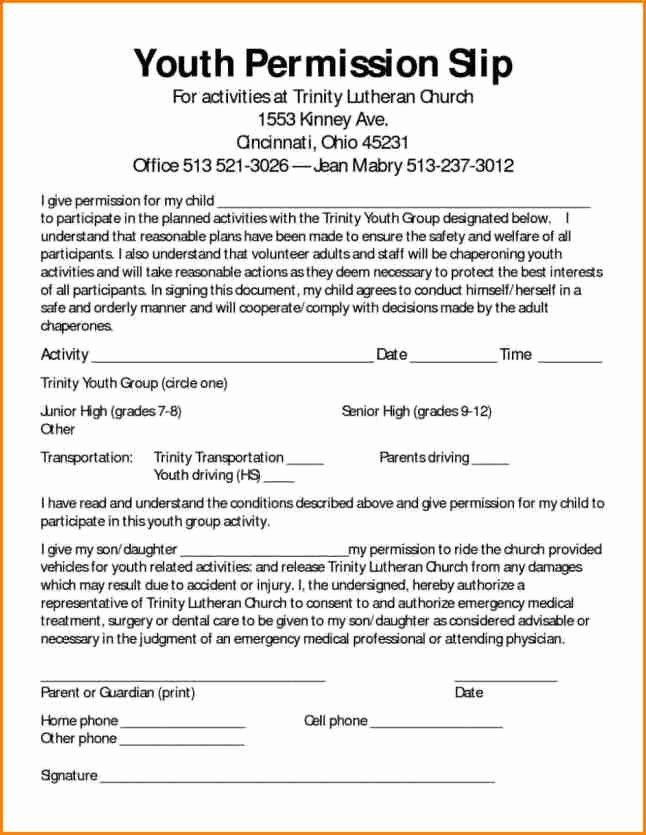 Youth Permission Slip Template Elegant 8 Field Trip Permission Slip