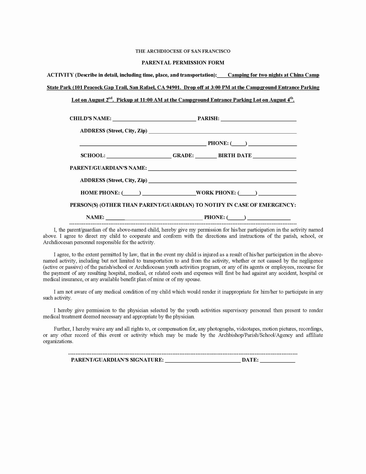 Youth Permission Slip Template Elegant Catch the Wave St Raphael Youth Ministry Camping