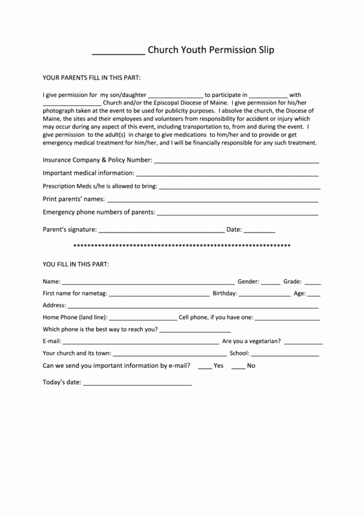 Youth Permission Slip Template Elegant Church Youth Permission Slip Printable Pdf