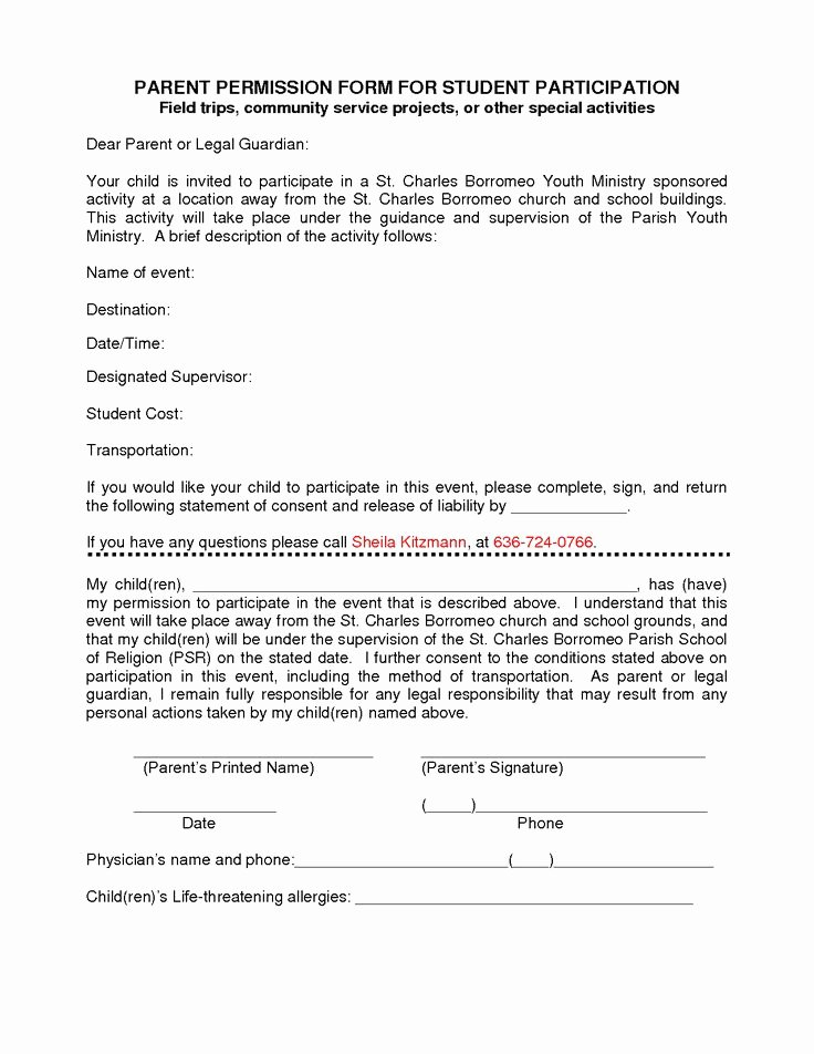 Youth Permission Slip Template Elegant Participation form Template