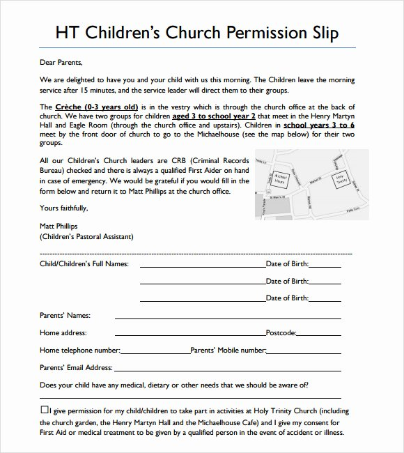 Youth Permission Slip Template Inspirational Sample Slip 7 Documents In Pdf Word