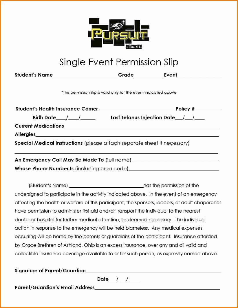 Youth Permission Slip Template Lovely 5 Church Youth Group Permission Slip Template