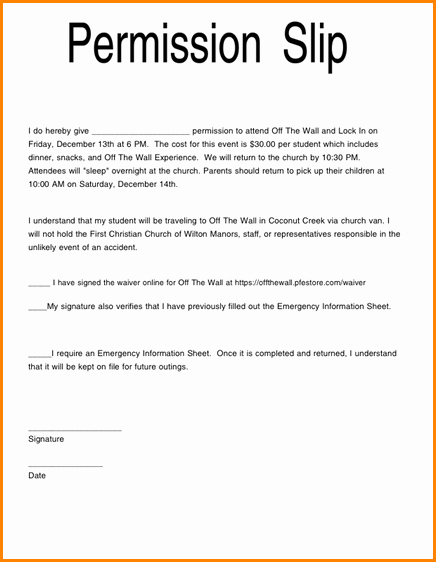 Youth Permission Slip Template New 5 Church Youth Group Permission Slip Template