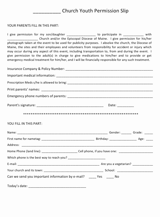 Youth Permission Slip Template New Church Youth Permission Slip Template Episcopal Diocese