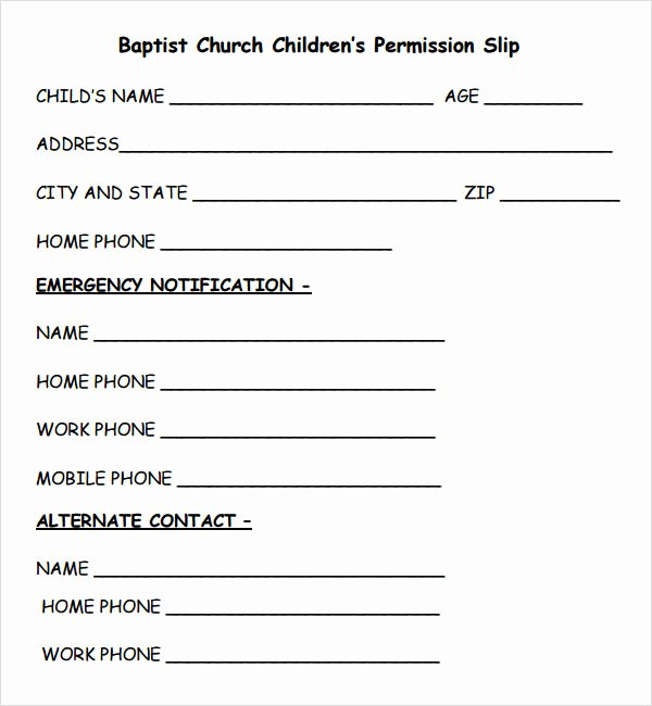 Youth Permission Slip Template Unique Permission Slip Template